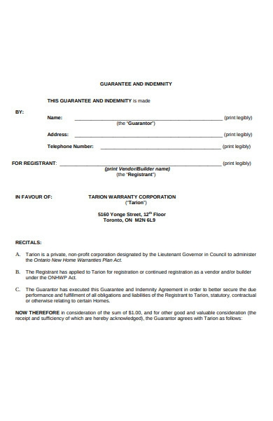 guarantor indemnity form