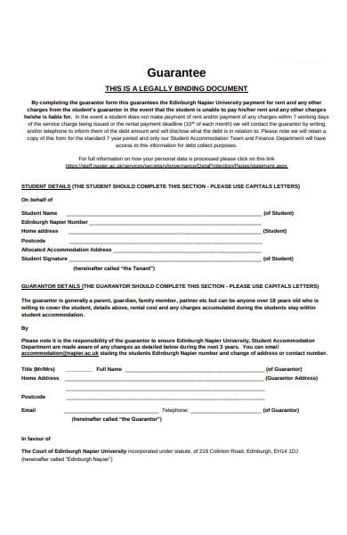 guarantor legally binding form
