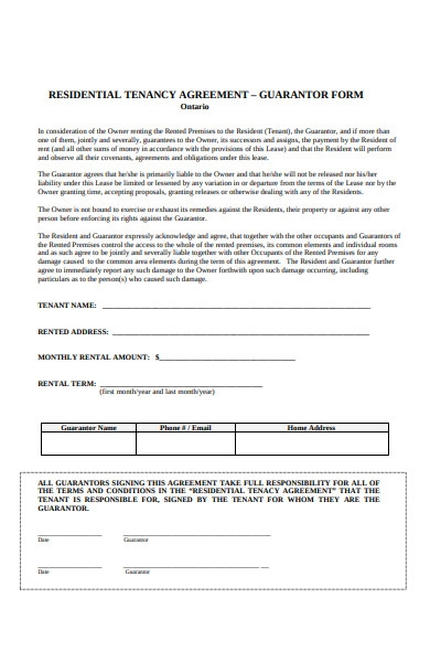 guarantor residential agreement form