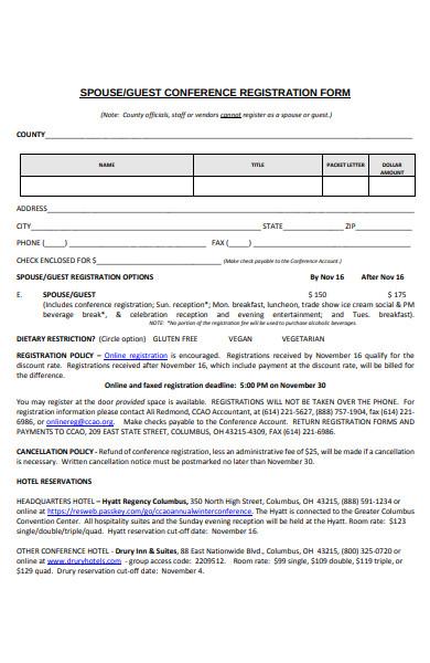 guest conference registration form