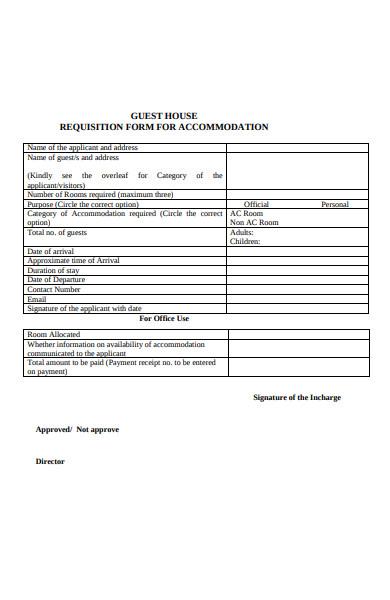 guest house requisition form