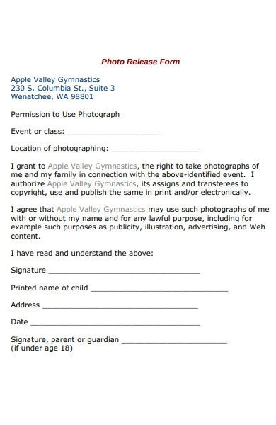 gymnastics photo release form