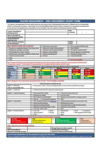 hazard management risk assessment form
