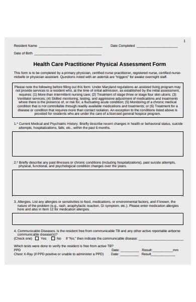 health care assessment form