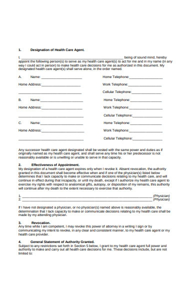 health care attorney form