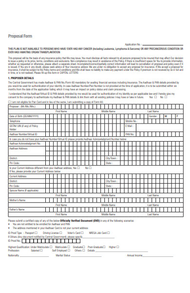 health insurance proposal form