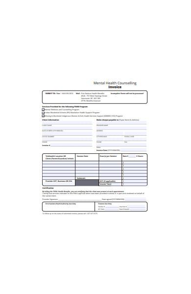health invoice form