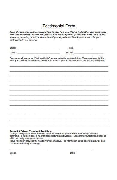 healthcare testimonial form