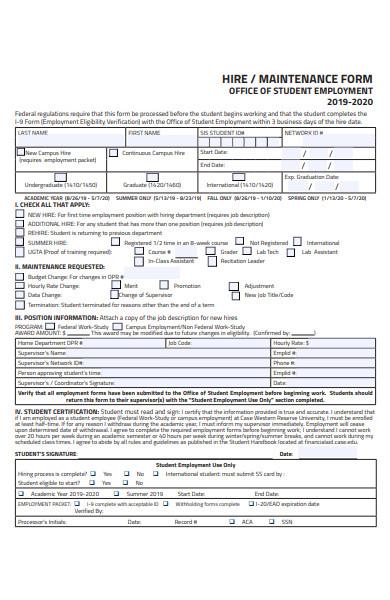 hire maintenance form