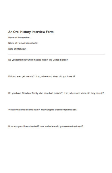 history interview form