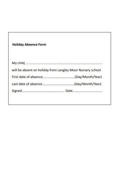 holiday absence form