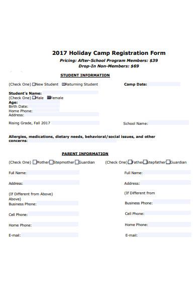 holiday camp registration form