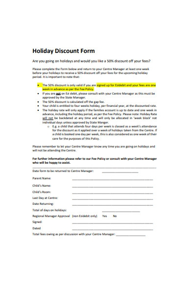 holiday discount form