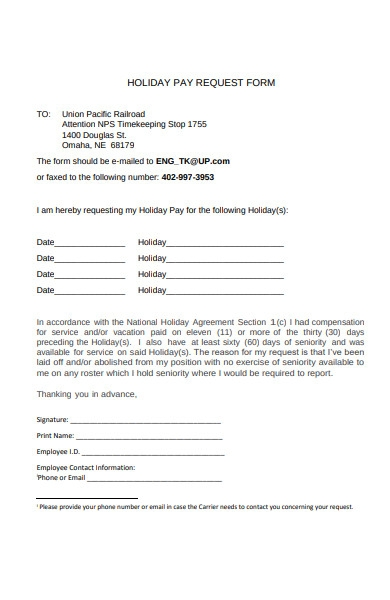 holiday pay request form