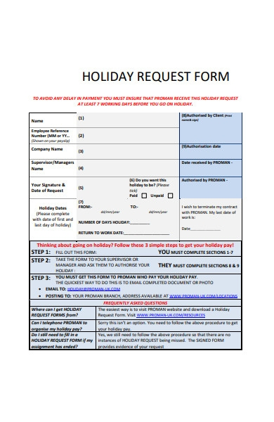 holiday request form template