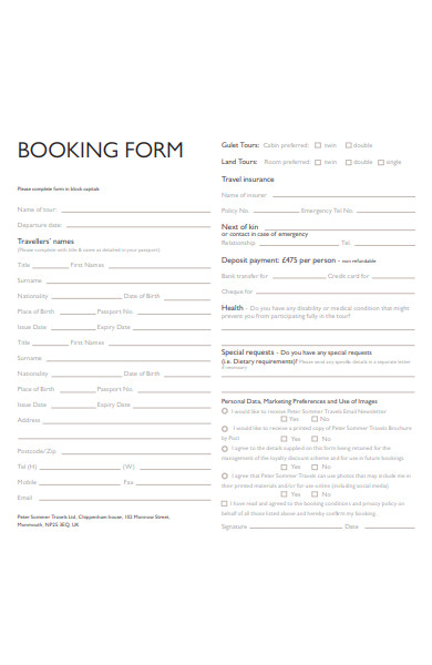 holiday travel booking form