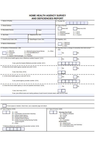 home health agency survey form