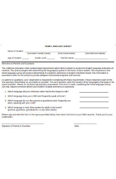 home language survey form