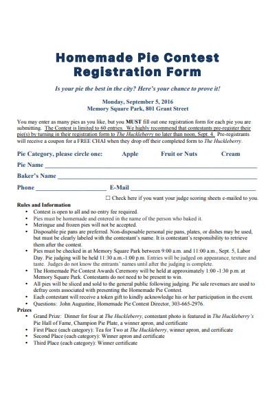 homemade pie contest registration form