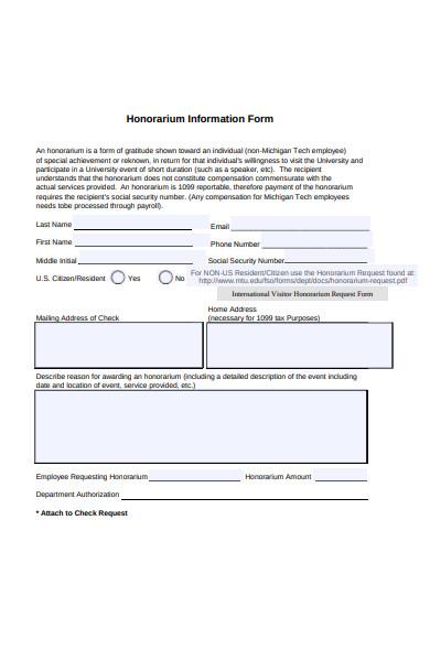 honorarium information form