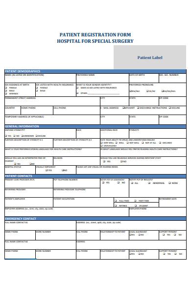 hospital patient registration form