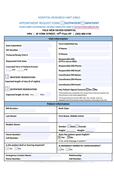 hospital search unit appointment request form