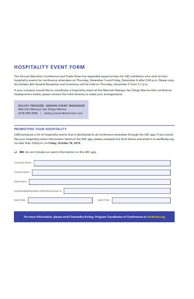 hospitality event form