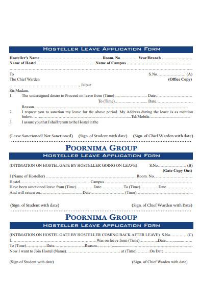 hosteler leave application form