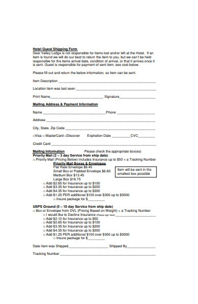 hotel guest shipping form