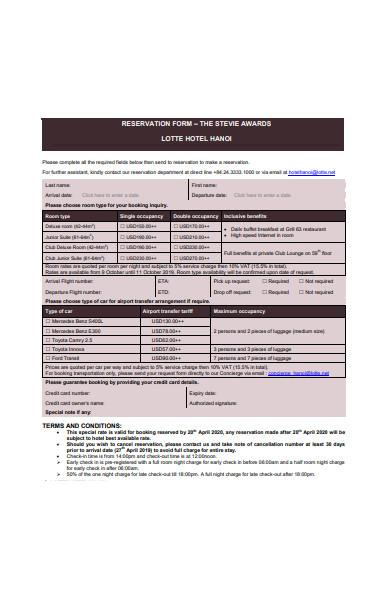 hotel restaurant reservation form