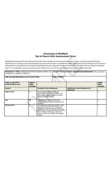 hours risk assessment form