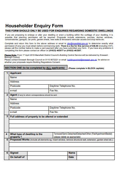 householder enquiry form