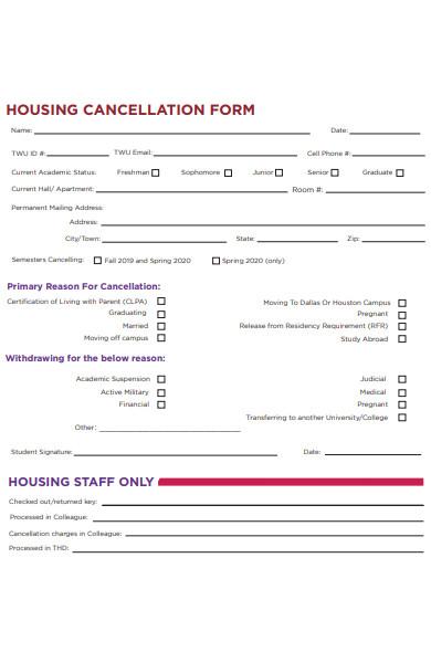 housing cancellation form