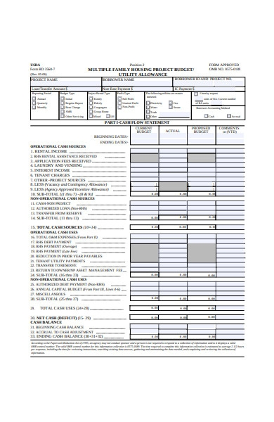 housing project budget form
