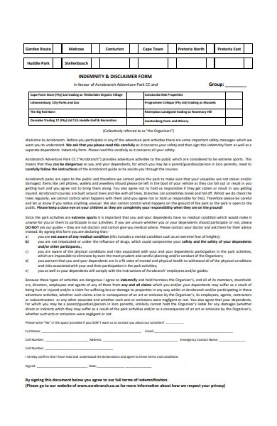 indemnity and disclaimer form
