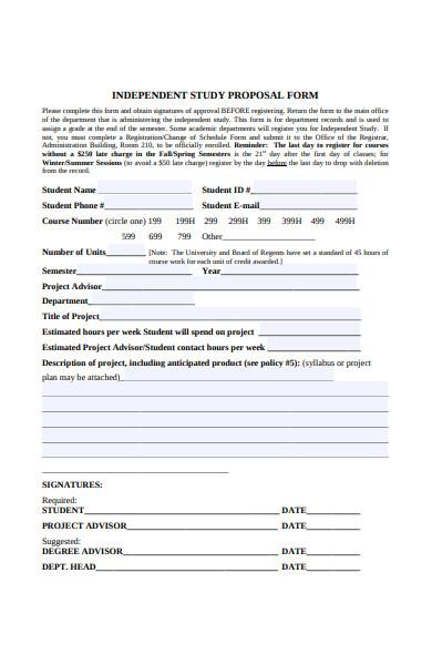 independent studies proposal form