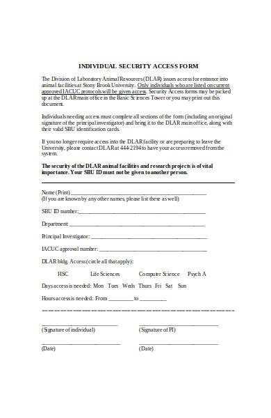 individual facility form