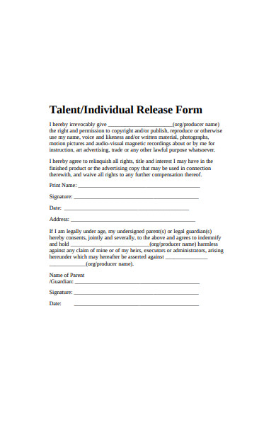 individual release form