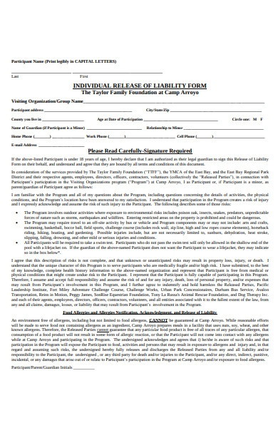 individual release of liability form