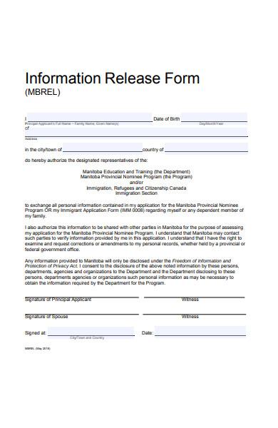 information release form