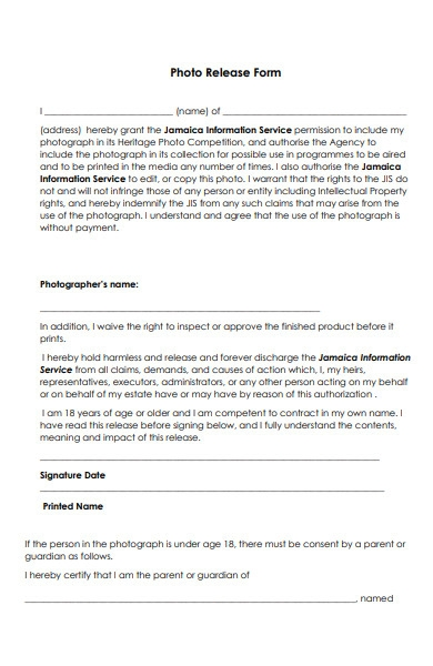 information service photo release form