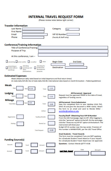 internal travel request form