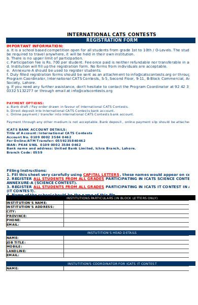 international contest registration form