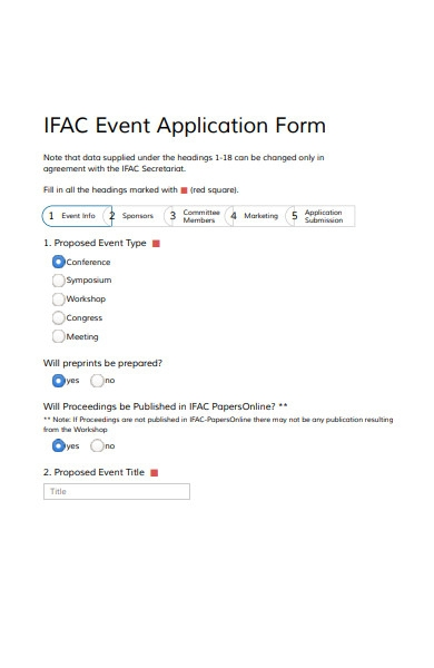 international event application form