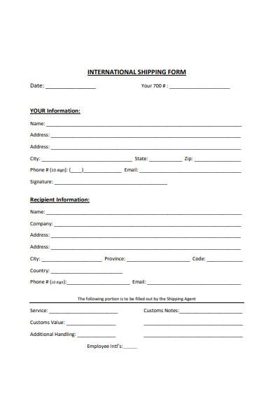 international shipping form