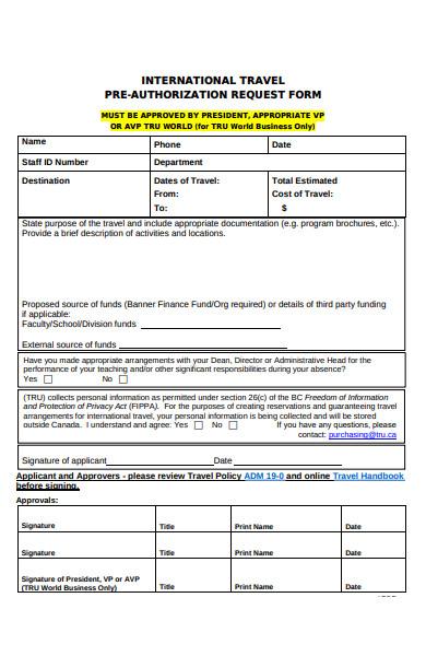 international travel pre authorization request form