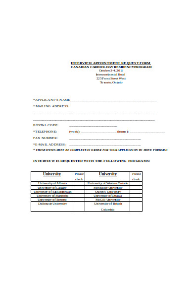 interview appointment request form