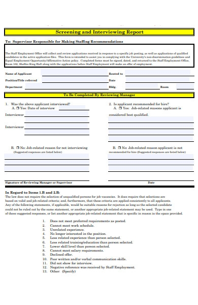 interview report form