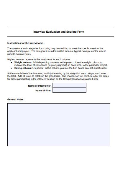 interview scoring form