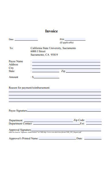 invoice form in sample